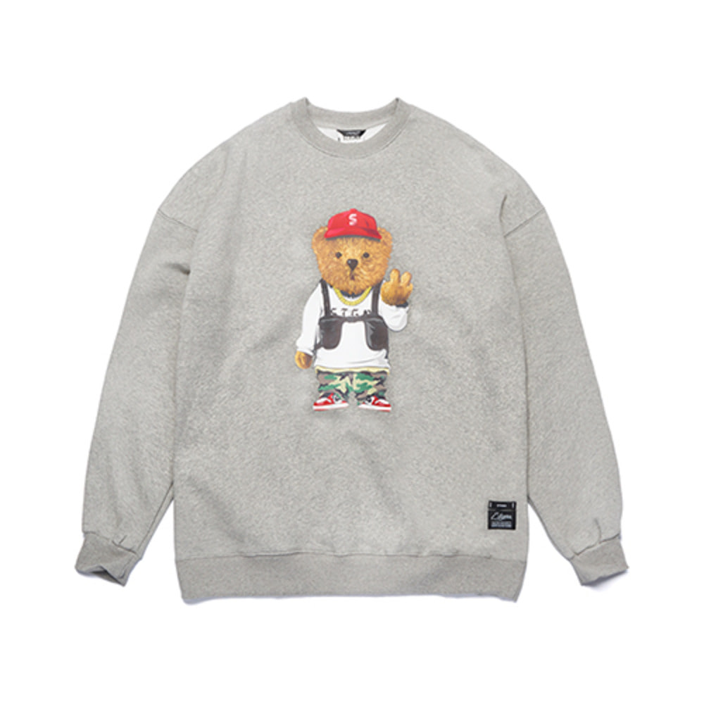 [STIGMA]V BEAR OVERSIZED HEAVY SWEAT CREWNECK - GREY