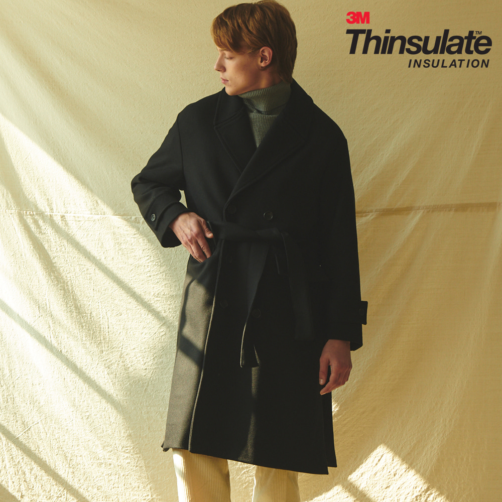 [ANOUTFIT] UNISEX OVERFIT 3M THINSULATE ROBE COAT BLACK