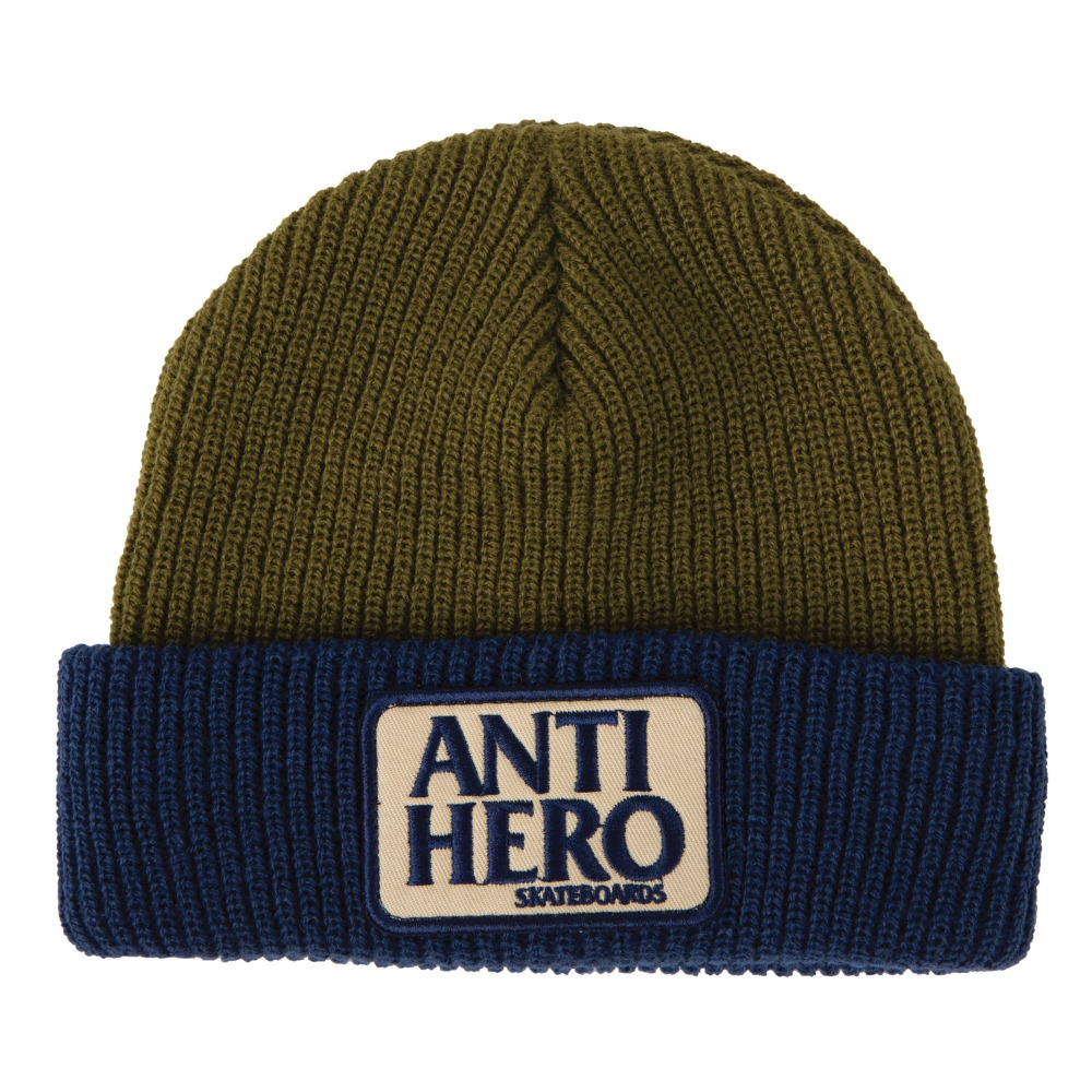 [Anti Hero] RESERVE PATCH Cuff Beanie - NAVY/OLIVE 50220097A00