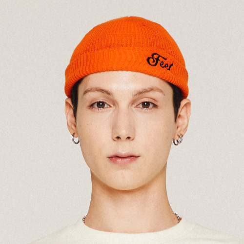 [필이너프] LOGO BEANIE / ORANGE