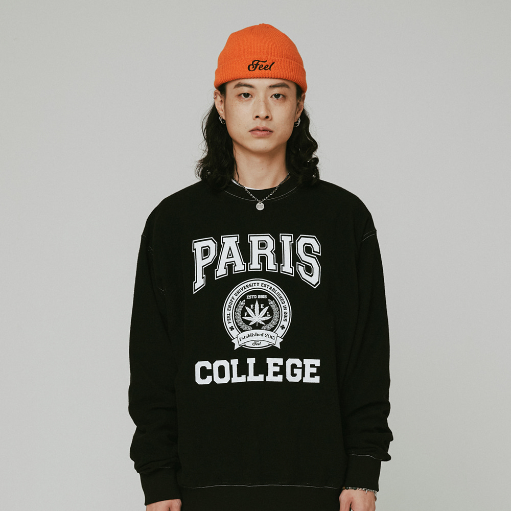 [필이너프] College Reversible Crewneck / BLACK