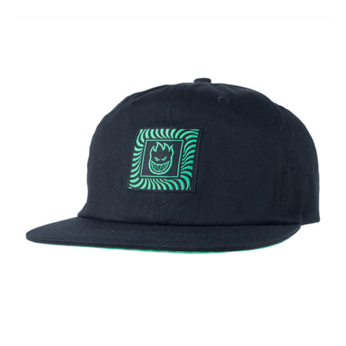 [Spitfire] BOX SWIRL PATCH STRAPBACK  - BLACK/GREEN