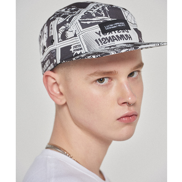 Printed Camp hat - WHITE