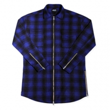 [Maremoto]Two Way Zip Up Flannel Shirts - Blue