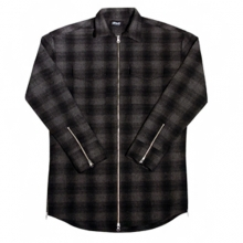[Maremoto]Two Way Zip Up Flannel Shirts - Black