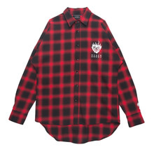 (30%SALE) [Black Hoody]Flame Rose Flannel Check Shirt Red