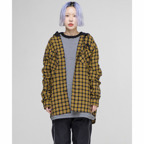 [OURHISTORY]ORS Hood Check Shirt_Yellow