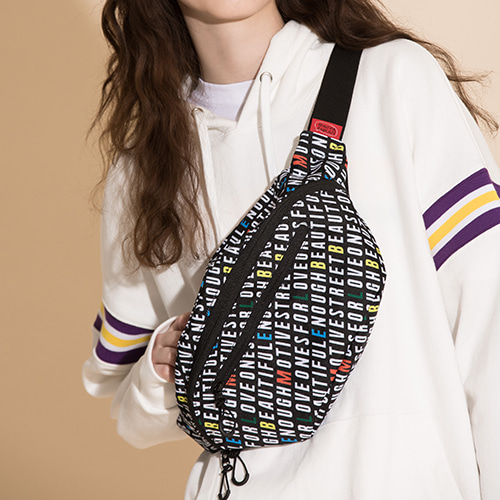 [MOTIVESTREET]PATTERN WAISTBAG ALPHABET PAT