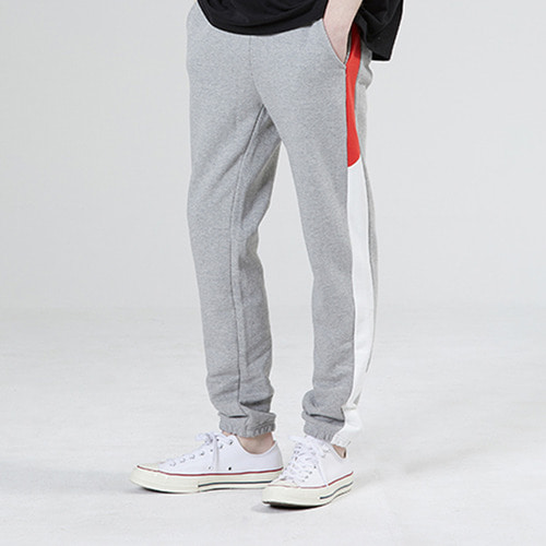 [MOTIVESTREET]LINE SWEAT JOGGER PANTS GRAY