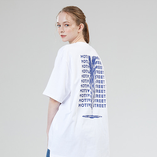 [MOTIVESTREET]BACK LETTERING TEE WHITE