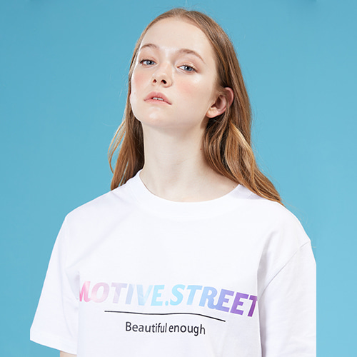 [MOTIVESTREET]GRADATION LOGO TEE WHITE