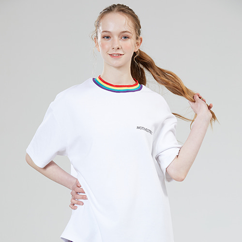 [MOTIVESTREET]RAINBOW NECK POINT TEE WHITE