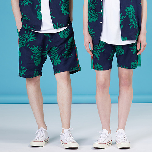 [MOTIVESTREET]LINEN SIDE SHORTS HAWAIIAN