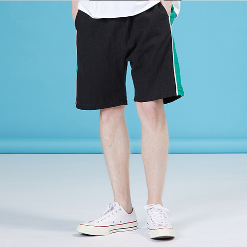 [MOTIVESTREET]LINEN SIDE SHORTS BLACK