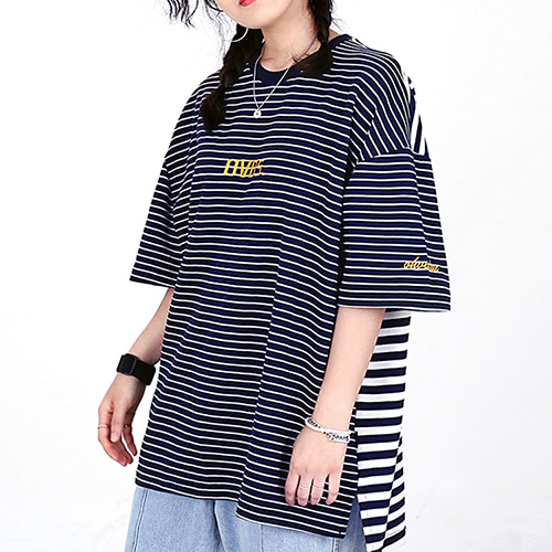 [OHVERDOSE]OVER-FIT LOGO TEE STRIPE NAVY