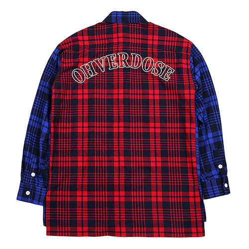 [OHVERDOSE]OVER-FIT 2-POCKET MIXED CHECK SHIRTS