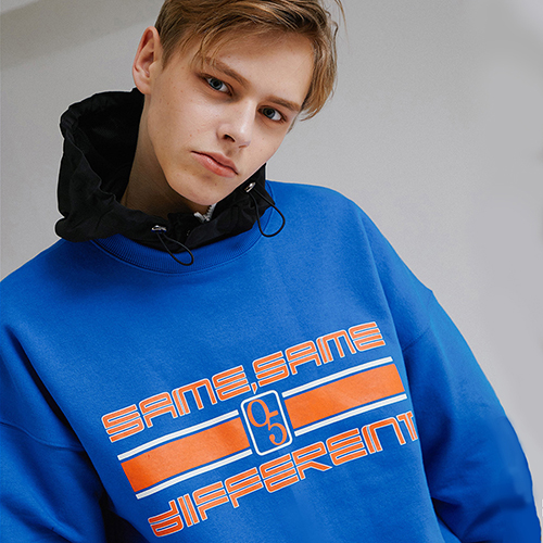 [MOTIVESTREET]SLOGAN SWEAT SHIRT BLUE