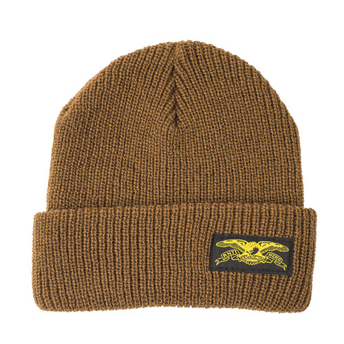 [Anti Hero] BASIC EAGLE LABEL CUFF BEANIE - MED BROWN/YELLOW