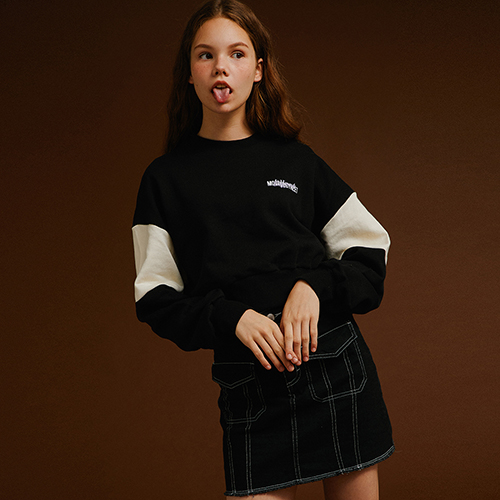 [MOTIVESTREET]CROP TOP SWEAT SHIRT BLACK