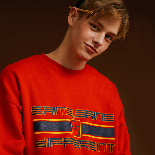 [MOTIVESTREET]SLOGAN SWEAT SHIRT RED