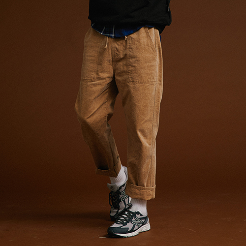 [MOTIVESTREET]WIDE COTTON PANTS BROWN