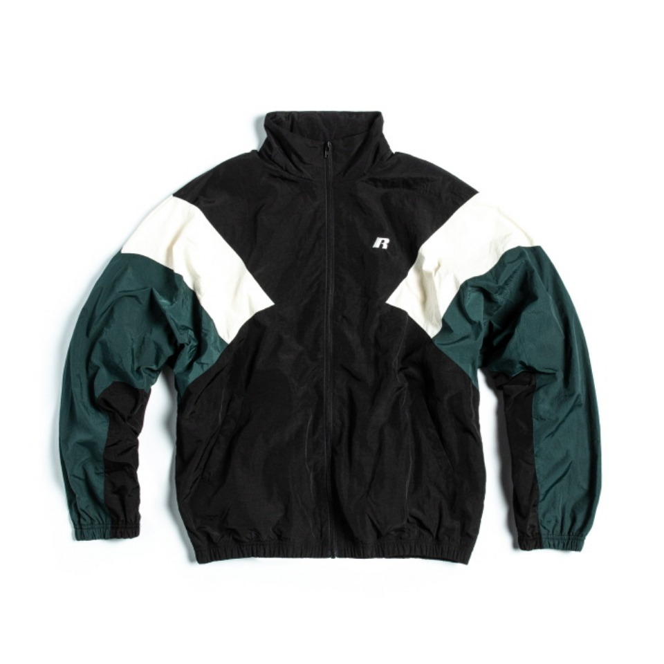 [RUSSELL ATHLETIC] NYLON SHELL TRACK JACKET - BLACKxD.GREEN