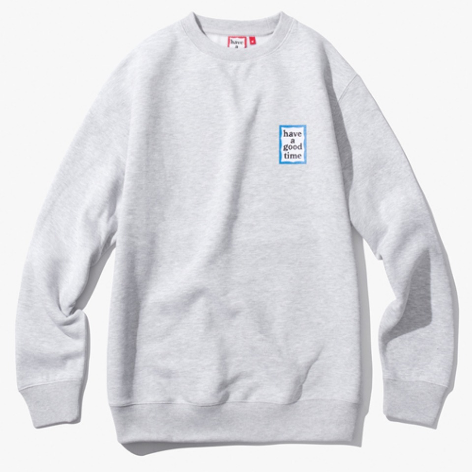 [해브어굿타임] MINI BLUE FRAME CREWNECK - HEATHER GREY