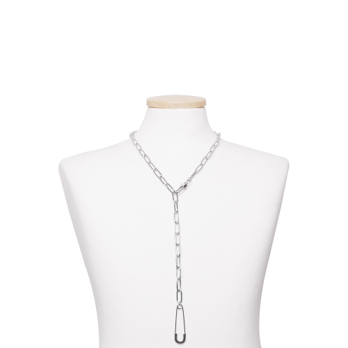 [TWENTYONEAUGUST]SAFETYPIN LONG CHAIN CHOKER - SILVER