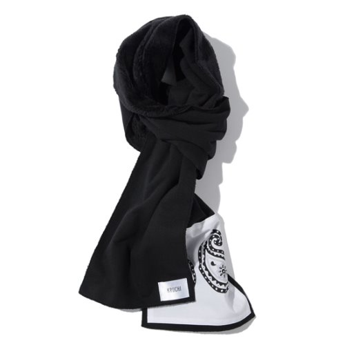 [KRUCHI] Paisley patch muffler (black)