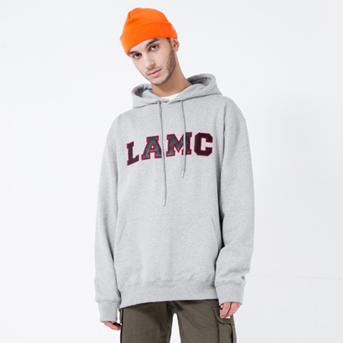 [LAMODECHIEF] LAMC LEATHER BIG LOGO HOODY (GRAY)