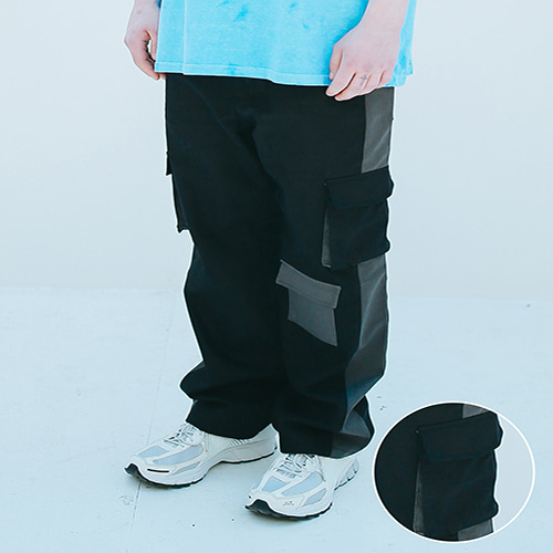 [APPARELXIT] UNISEX TECH COTTON CARGO PANTS BLACK