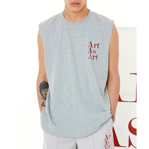 ART AS ART SLEEVELESS - GREY/RED