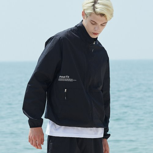 [언아웃핏] UNISEX MONO WINDBREAKER JACKET BLACK