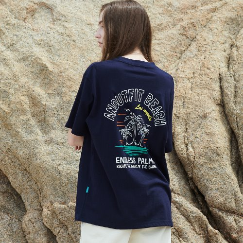 [언아웃핏] UNISEX PALM TREE HALF T-SHIRTS NAVY