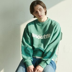 [언아웃핏] UNISEX SIGNATURE LOGO HEAVY SWEATSHIRT MINT GREEN