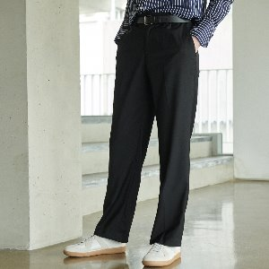 [언아웃핏] UNISEX LONG WIDE F SLACKS BLACK