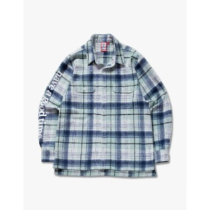 [have a good time] Side Logo Checked Shirts - Green