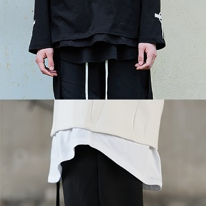 [YORKMINSTER]Layered Sleeve - Black . White