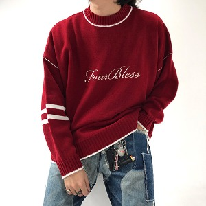 [4BLESS] Cursive Logo knit Red