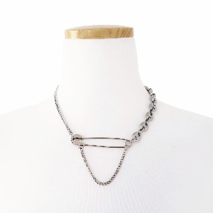 [TWENTYONEAUGUST]SAFETYPIN CUBAN LINK NECKLACE - SILVER