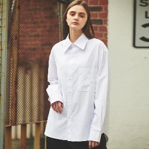 [ANOUTFIT] UNISEX BIGCOLLAR OVERFIT SHIRTS WHITE
