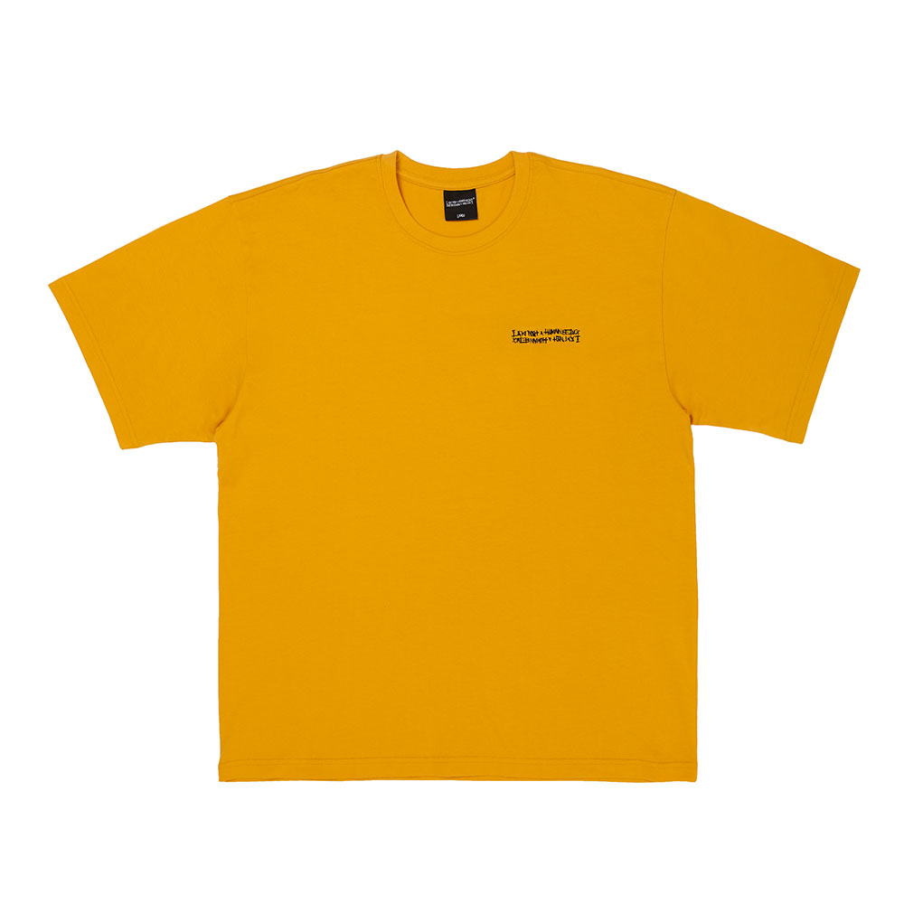 Embroidery Front Short Sleeve T-Shirt - MUSTARD