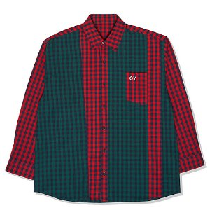 [OY]MIX CHECK SHIRTS-GREEN/RED