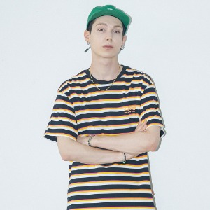 [필이너프] MULTI COLOR BORDER TEE - BK