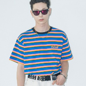 [필이너프] MULTI COLOR BORDER TEE - BL