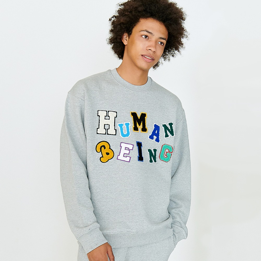 [아임낫어휴먼비잉] LOGOED PATCHWORK SWEAT SHIRTS - GREY