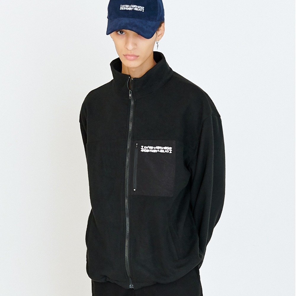 [아임낫어휴먼비잉] LOGO FLEECE ZIP-UP JACKET - BLACK