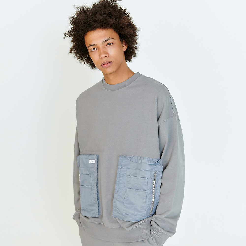 [아임낫어휴먼비잉] MA-1 POCKET DETAIL SWEATSHIRTS - CHARCOAL