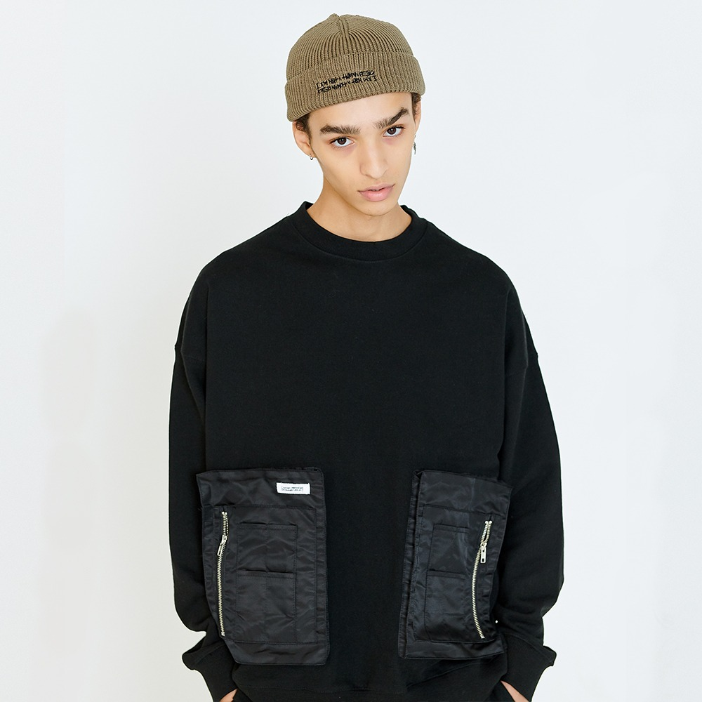 [아임낫어휴먼비잉] MA-1 POCKET DETAIL SWEATSHIRTS - BLACK