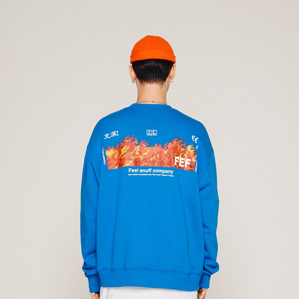 [필이너프] FLAME CREWNECK / BLUE